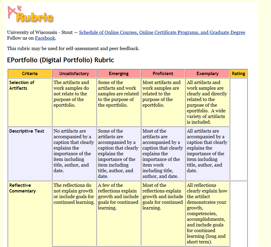screenshot of eportfolio assessing rubric